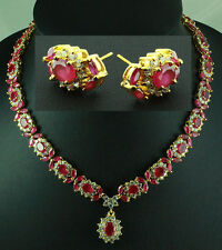 FASHION JEWELRY GEM 14K YELLOW GOLD RED RUBY SAPPHIRE NECKLACE + EARRINGS S78
