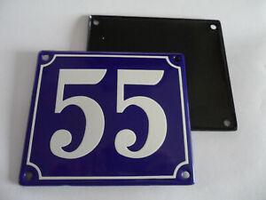 Old French Blue Enamel Porcelain Metal House Door Number Street Sign / Plate 55