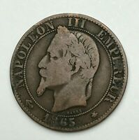 Dated : 1865 A - France - Cinq Centimes - 5 Centimes Coin - Napoleon III