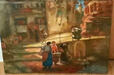 Original Vintage Oil on Canvas European Street Scene Washer Women