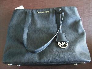 New Michael Kors Morgan Signature Medium Black Tote Bag Handbag