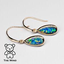 Rainbow Oval Natural Australian Doublet Black Opal Drop Earrings 14k Yellow Gold