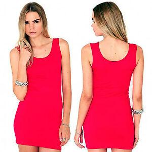 SIZE M/L 12 - 14 BODYCON MINI DRESS TUNIC RED