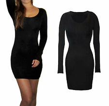 UK Womens Ladies Mini Bodycon Party Evening Dress Black SIze 8 10 12 14 16 18