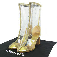 Auth CHANEL Rare CC Logos Lace Punching Vinyl Boots Sz 36 US 6 F/S 571