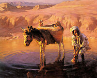 Oil painting 水洼 - at the watering hole child with donkey at sunset landscape art