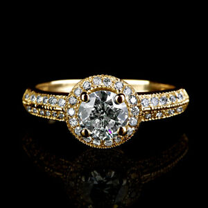 1.6 CARAT CERTIFIED NATURAL REAL ACCENTED DIAMOND 18K YELLOW GOLD PROPOSAL RING