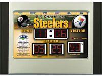 Pittsburgh Steelers Scoreboard Desk & Alarm Clock [NEW] NFL Watch Time Office