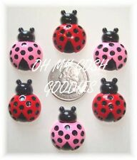 6PC PRETTY RED PINK POLKA DOT LADY LADYBUG FLATBACK RESINS 4 HAIRBOW BOW CENTER