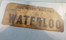 Antique Southern Railway to Waterloo luggage railway label