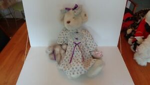 """Annette Funicello Collectible Bears Bear Holding Cat 21"""" Tall EC"""