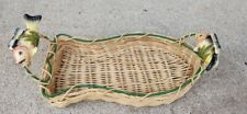 Fish Fishing Shaped Wicker Basket Ceramic Fish Handles Cabin Lake Nautical Decor