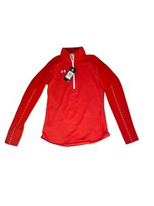 New $60 Under Armour Women's S UA Knit ColdGear Warm-Up ½ Zip Red 1327446-600