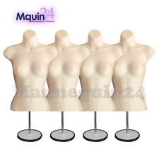4-Pack Mannequins : Flesh Female Torso Forms with 4 Metal Stands + 4 Hangers