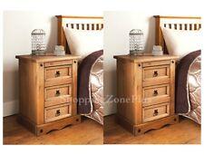 Set di 2 eleganti rustico in legno massello 3 cassetti armadio letto Side Table Lampada sul petto