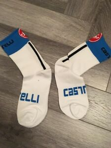 New White & Blue Cycling Socks Size 7-13