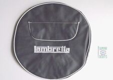 "GREY SPARE WHEEL COVER - ZIPPED POCKET - 10"" WHEEL- WHITE LAMBRETTA LOGO"