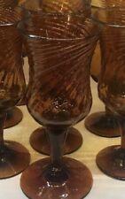 Vintage-Amber-Hand Blown Glass Goblets with Pontil Break