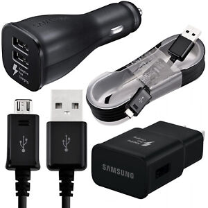 Samsung Galaxy S7 S8 S9 S10 Note 8 Fast Charging Dual USB Car&Wall Charger+Cable