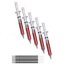 5 NOVELTY SYRINGE PENS plus REFILLS!  Free P&P! Nurse - Writes in BLACK ink