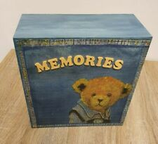 Blue Wooden Teddy Bear Square Lidded Rustic Keepsake Memory Box Gift Present