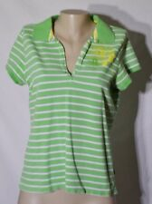 IZOD Green/White Striped Polo Shirt XL Cap Sleeves Yellow Floral Accent