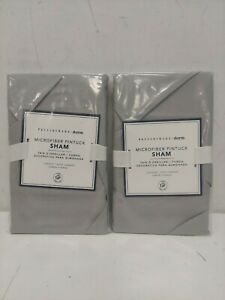 Pottery Barn Dorm: Set 2x Microfiber Light Gray Pintuck Standard Sham New w/Tags