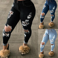 Womens Ripped Denim Pants Jeans Ladies Slim Trousers Jeggings Ankle Stretch Size