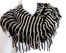Infinity scarf with fringes black beige stripes double loop autumn knit cowl