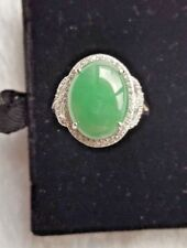Genuine Water Geen 6.1ct Jadeite Jade (Type A) 925 Silver Ring SIZE Adjustable