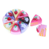 10Pcs Plastic Kitchen Cutting Toy Birthday Cake Pretend Play Food Set Kids GifNT