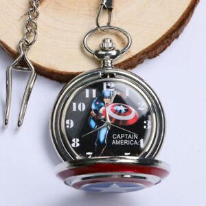 Vintage Quartz Pocket Watch Silver Captain America Case Steampunk Necklace Chain