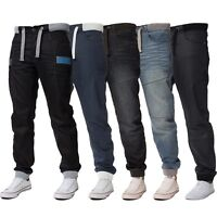 New ENZO Mens Cuffed Denim Joggers Jeans Black Fashion Big King Sizes All Waists