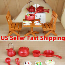 Set Plastic Miniature Dining Furniture Table Chair Cooking Tool Doll House Toy