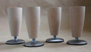 7 x Wooden Slim Tall Legs office desk BEECH adjustable feet MattChrome M10 115mm