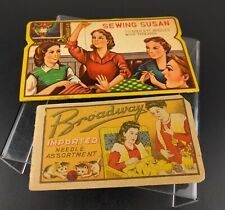 VTG Sewing Susan Needle Book & Broadway Imported Needle Assortment Retro Decor