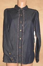 Jones New York Size S Cotton Solid Denim Long Sleeve Ruffled Knit Top Multiple