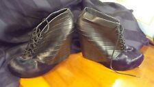 Matico Stella Boots Cow Leather Bootie Platform Wedge Heels Black Size 10 NWOB