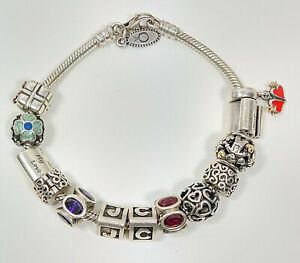 Authentic Sterling Silver Pandora Charm Bracelet 11 Different Charms 925 14K ALF