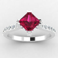 Princess Cut Certified 0.76 Ct Real Diamond Real Ruby Ring 14K Solid White Gold