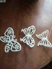 Set of 3 Homco White Wicker Butterflies for Wall