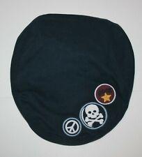 New Gymboree Boys 2T 3T Flat Cap Hat Navy Blue w Patches Rock Peace Sign