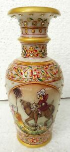 Marble Vase Hand Made Stone Unique Indian Hand Painted Pot Vases Home Decor Art