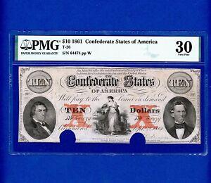 1861 $10 CONFEDERATE STATES OF AMERICA RED X'S RARE CIVIL WAR PMG Very Fine 30