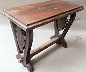 Wood Mini Stool footrest table Wood cut design leg DISPLAY DECOR WOOD STAND Qty1