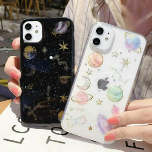 Case for iPhone 11 Pro XS Max XR 7 8Plus 6s Glitter Space Planet Soft Case Cover