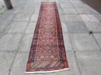 Antique Traditional Hand Made Vintage Oriental Wool Red Long Runner 370x78cm