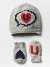 NWT BABY GAP 2 pc Heart U Gray Sweater Knit Intarsia HAT & MITTENS Set 18-24 mo