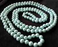 "NE AQUA Long 56"" Real Shell Pearl Knotted Necklace 110g GIFT BOXED Plum UK"