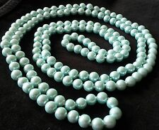 """NE 02 Long (56"""") AQUA Real Shell Pearl Knotted Necklace 110g Plum UK GIFT BOXED"""